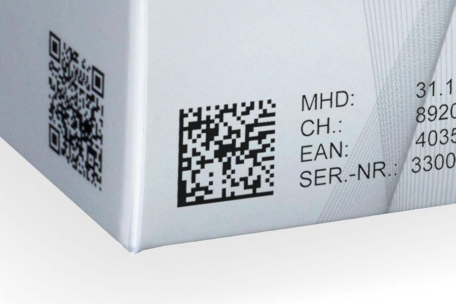 Data matrix code op een doos   Weber Marking Systems